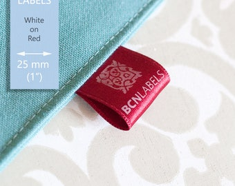 WHITE ON RED Custom Printed Soft Satin Clothing Labels 25 mm / Care Labels / Sew in Fabric Labels