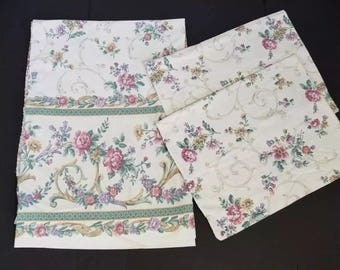 Vintage Full Flat Sheet Pillowcase Set Beige Pink Green Floral Graphic Dan River Percale