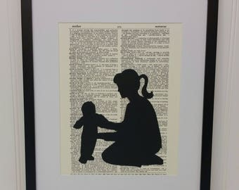 Mother and Baby Silhouette Art - Mother Holding Baby Silhouette Art - Mixed Media Collage Art - Dictionary Page Art - Book Art