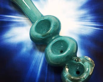 Aqua Blue Triple Bowl Glass Smoking Pipe, Tobacco Pipe