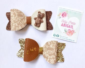 Teddy Bear themed Bow, Personalised Bow