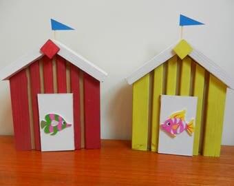 Wooden beach hut - Beach hut wall decoration - Beach wall art - Beach hut art - Seaside art - Beach hut ornament