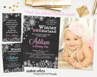 Winter onederland invitation girl, winter onederland invitation boy, first birthday invitation with photo, wonderland snowflakes invitation