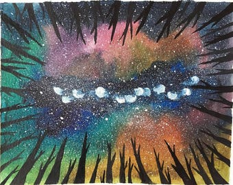 Original night sky painting-in the forest