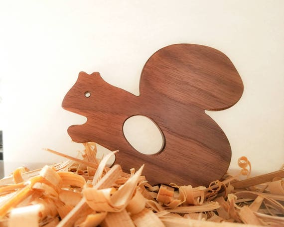 Natural wooden teething toy personalized baby gift squirrel like this item negle Gallery