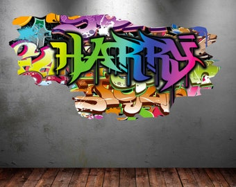 Personalized Name Full Color Graffiti Wall Decals Cracked 3d Wall Sticker  Mural Decal Graphic Wall Art