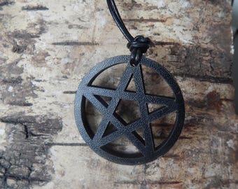 Black - Wooden Pentacle - Pendant Necklace - Hand Carved