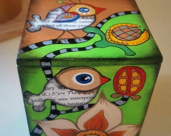 Birds - hand painted wooden box