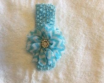 Infant/Toddler Aqua Crochet Headband with Chevron Flower