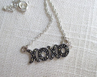 Sterling Silver Necklace - XOXO with Marcasite Accents