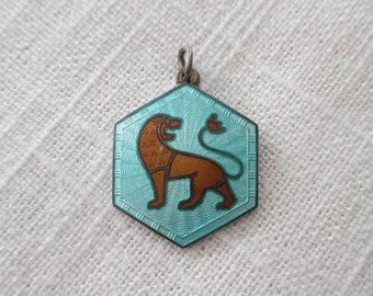 David Anderson Leo Zodiac Pendant - Sterling Silver Guilloche - Norway Mid Century - Signed - Scandinavian