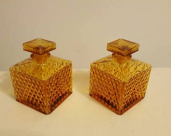 Amber whiskey decanters