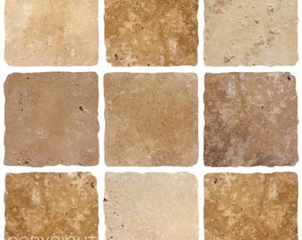 Pack of 10 cream brown stone effect mosaic tile stickers transfers, with added gloss affect, just peel and stick, bathroom kitchen