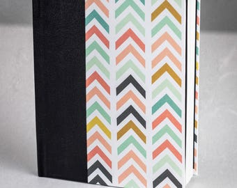Small Blank Journal, Hardcover, White Cotton Paper - Chevrons