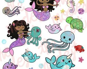 Mermaid and Underwater Creatures Stickers
