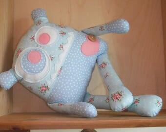 Handmade Plush Softie Monster Shelfie (Floral & Spots)