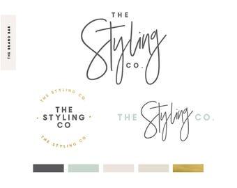 Modern Signature Logo Design / Calligraphy Logo / Wedding Logo / Boutique Logo Package / Branding Kit / Squarespace /