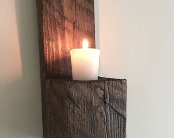 Handmade Reclaimed Rustic Wood Wall Mounted Sconce Candle Holder