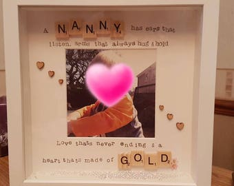 Nanny/ Gran/ Mamgu/ Grandma /Granny scrabble box frame birthday/ christmas/ mothers day gift