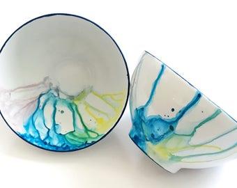 Hand Painted Watercolor Decorative Porcelain Bowl Multi-color