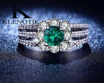 Emerald round cut Sterling Silver 925 ring size: 6-8