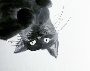 Animal series black cat II / Sumie Japanese ink painting