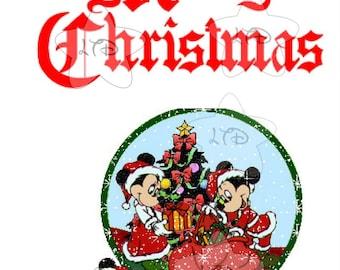 Mickey and Minnie Merry Christmas Globe Transfer