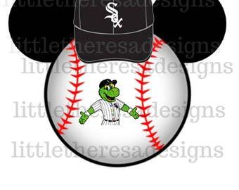 Chicago White Sox Baseball Mickey Head Transfer,Digital Transfer,Digital Iron On,Diy