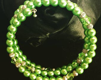 Green Glass Pearl with Silver and Crystal Accents