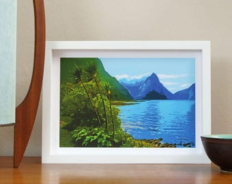 Mitre Peak Print, New Zealand Art, Travel Poster, Retro, Wall Art, Milford Sound, Mountains, Cabbage Trees, NZHolidayArt