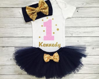 First Birthday Outfit Girl, 1st Birthday Outfit, First Birthday Shirt, Personalized First Birthday Outfit, First Birthday Dress, Navy Blue
