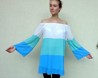 Turquoise beach cover up, beach dress, turquoise dress, backless dress