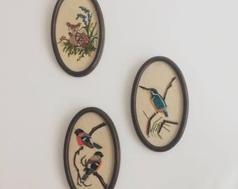 Set of Three Vintage Hand Embroidered Pictures