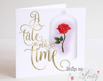 Beauty and the Beast Tale as Old as Time Enchanted Rose card