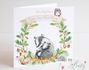 New Baby woodland theme Congratulations card