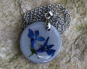 Lobelia Flower Necklace / Real Flower Jewelry / Wildflower Necklace / Resin Necklace / Stainless Steel / Natural Jewelry