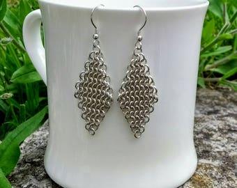 Sterling Silver Chain Maille European 4 in 1 Chevron Drop Earrings