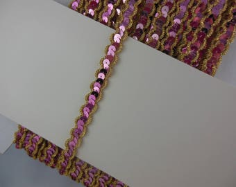 Pink and gold sequin trim