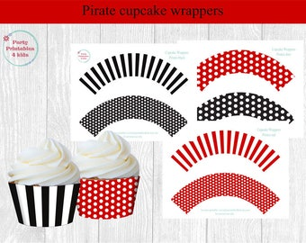 Pirate Cupcake Wrappers, Pirate Birthday , Printable PDF, Instant Download