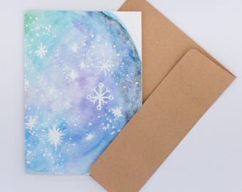 Card greeting, Constellation, watercolor, planet, stars, gift idea, blue, blank