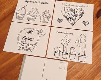 Valentine, kids coloring activity Valentine postcards