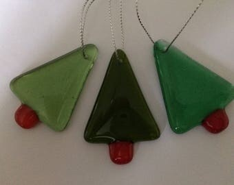 Set of three fused glass Christmas trees