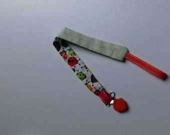 Pacifier clip heart jcoccinelles design fabric