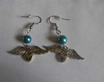 Angel wings with heart and blue pearl earrings