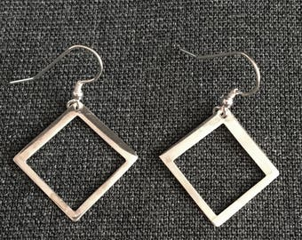 Square Drop Earrings, Hand Cut