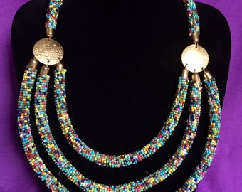 Three layer beaded African necklace