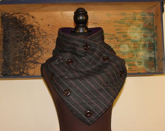 "11x46"" Cowl Scarf Button Up Super Cozy Fleece and Upcycled fabric"