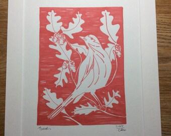Thrush, Mistle Thrush, Bird Art, Bird Print, Thrush Print, British Birds, Bird Lovers Gift, Home Decor