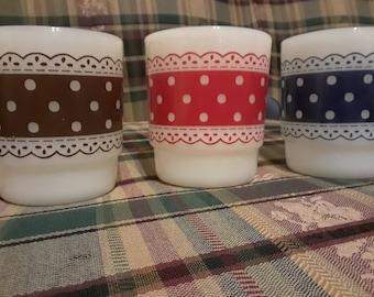 3 lace Fire King mugs