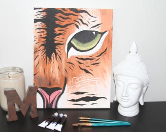 Cat/Tiger Acrylic Canvas Original Painting *